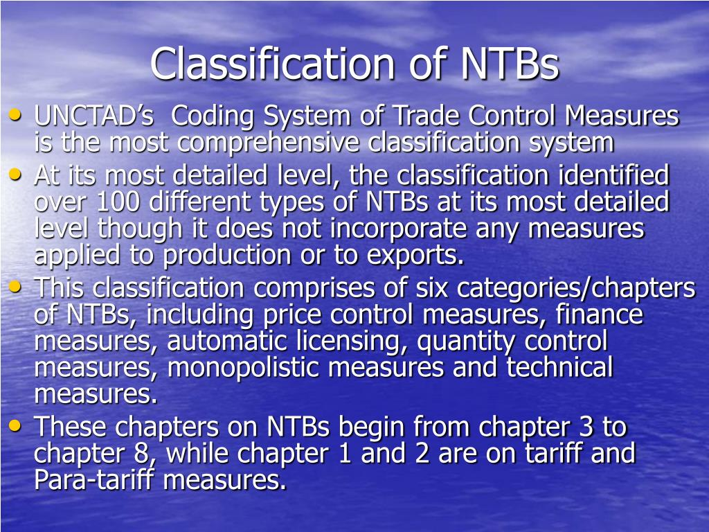 Classification of NTBs