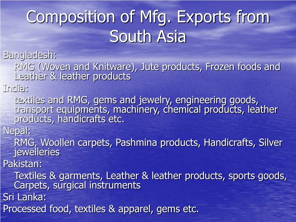 Composition of Mfg. Exports from South Asia