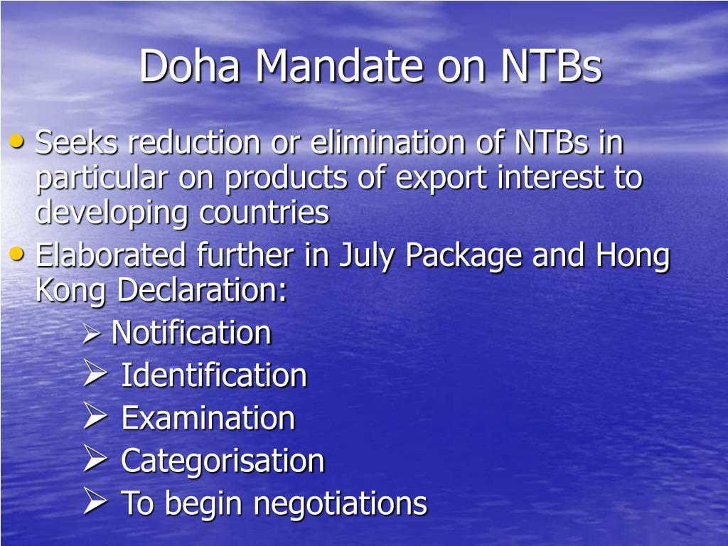 Doha Mandate on NTBs