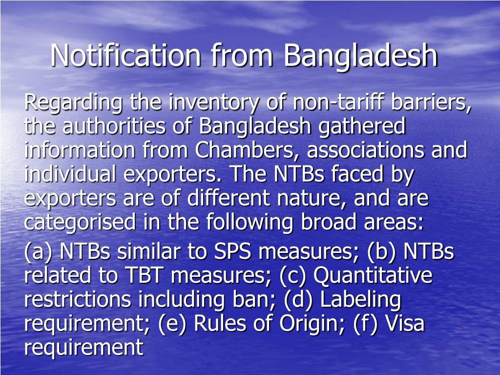 Notification from Bangladesh