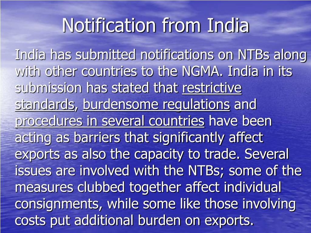 Notification from India
