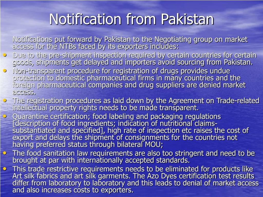 Notification from Pakistan