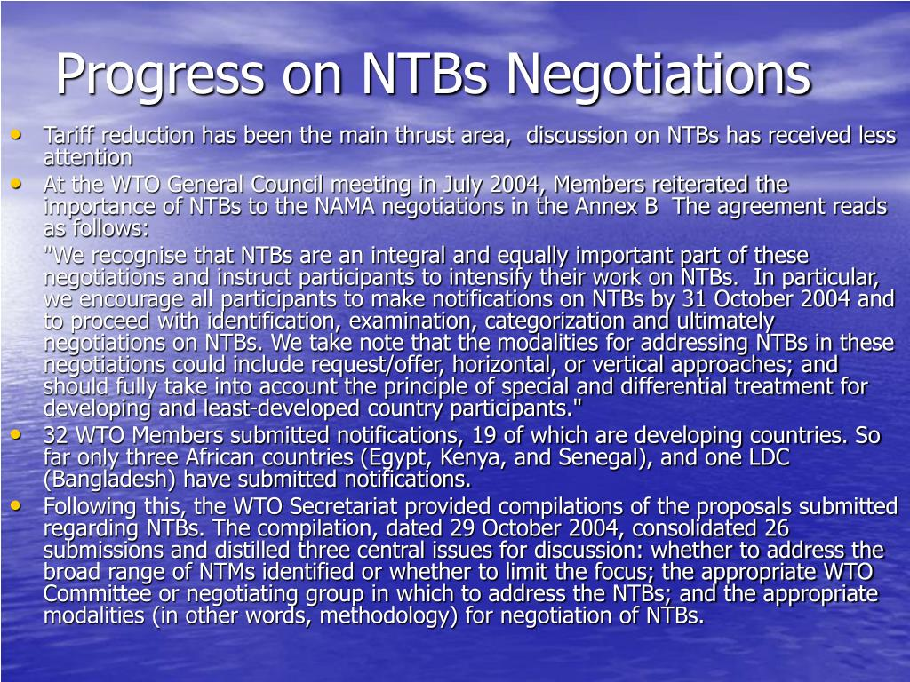 Progress on NTBs Negotiations