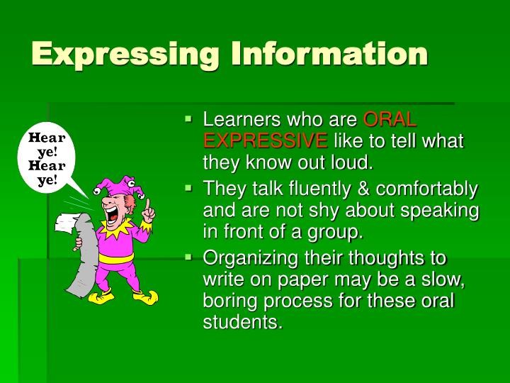 Expressing Information