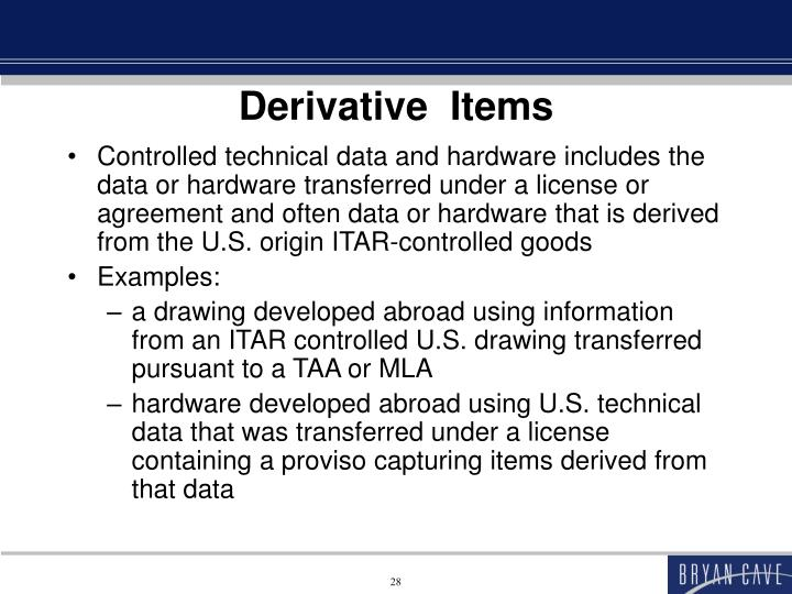 Derivative  Items