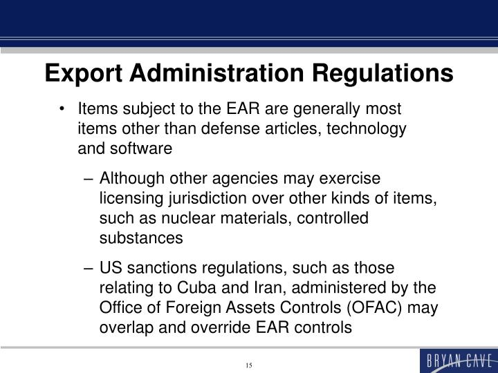 Export Administration Regulations