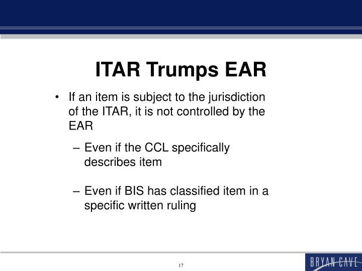 ITAR Trumps EAR