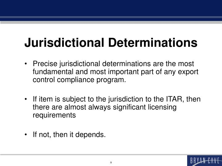 Jurisdictional Determinations