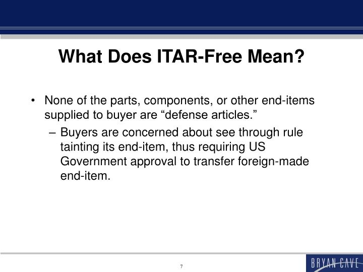 What Does ITAR-Free Mean?