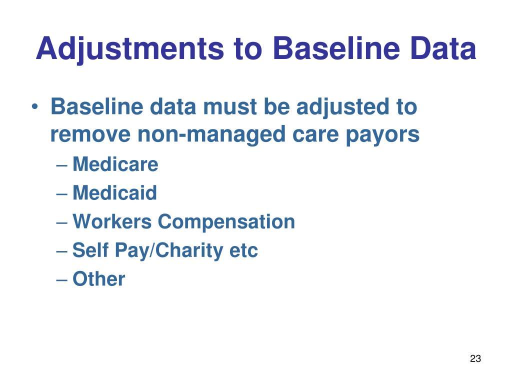Adjustments to Baseline Data