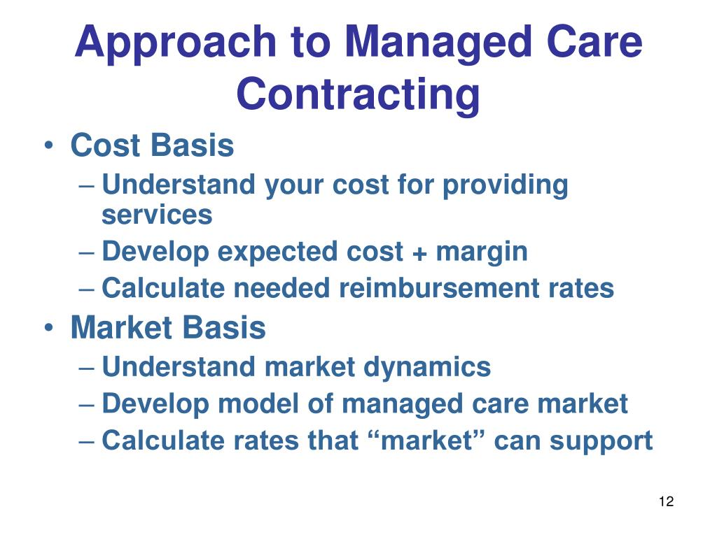 Approach to Managed Care Contracting