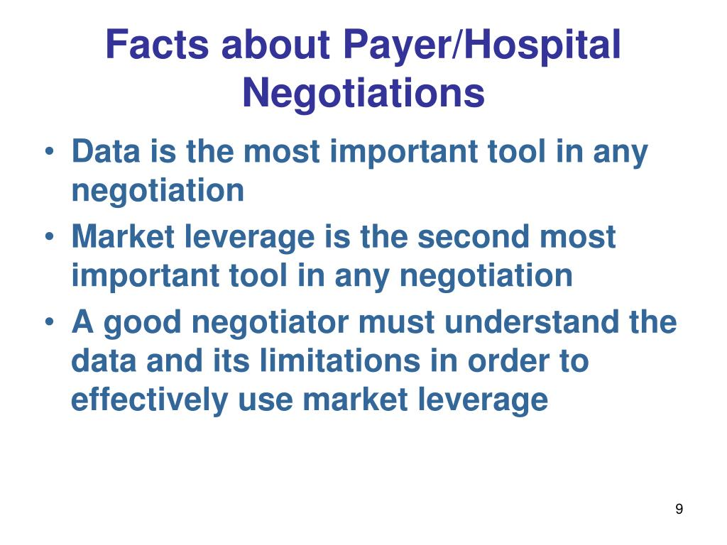 Facts about Payer/Hospital Negotiations