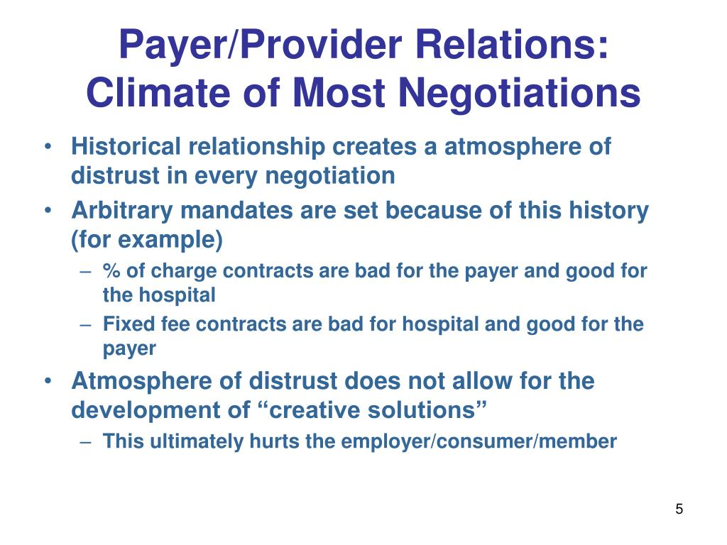 Payer/Provider Relations: Climate of Most Negotiations