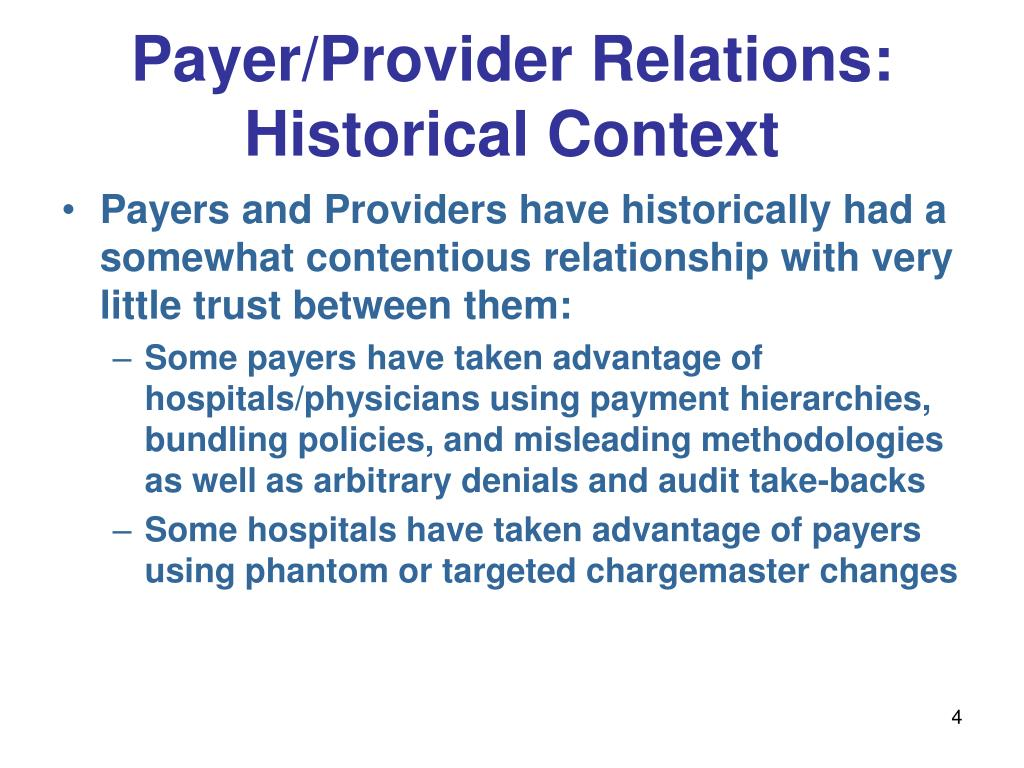 Payer/Provider Relations: Historical Context