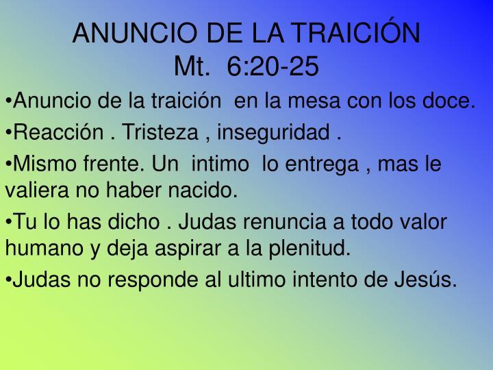 ANUNCIO DE LA TRAICIÓN