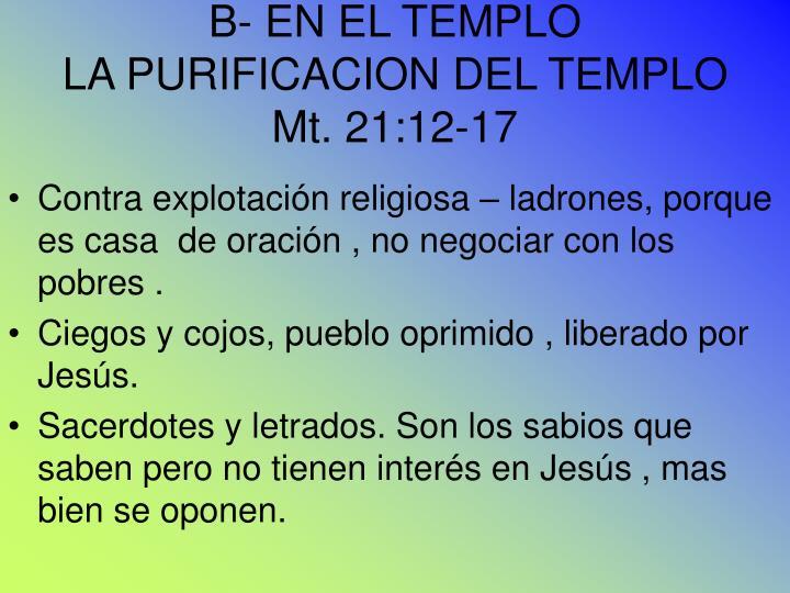 B- EN EL TEMPLO
