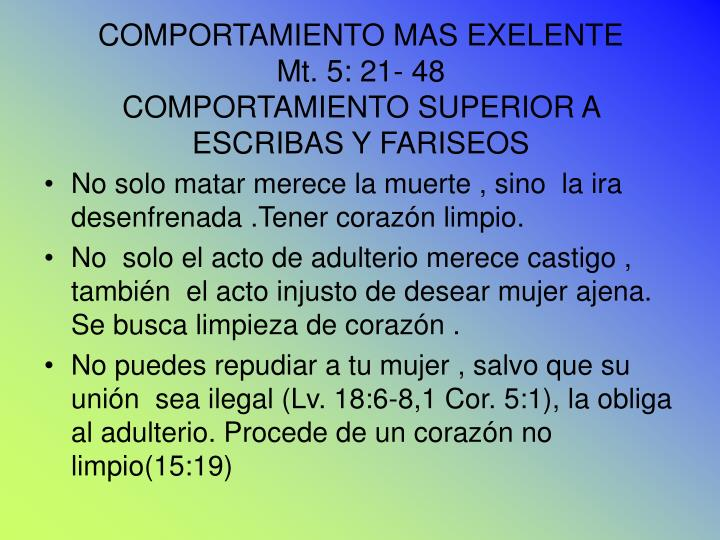 COMPORTAMIENTO MAS EXELENTE