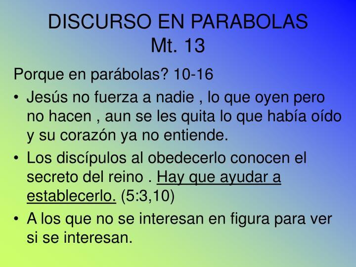 DISCURSO EN PARABOLAS