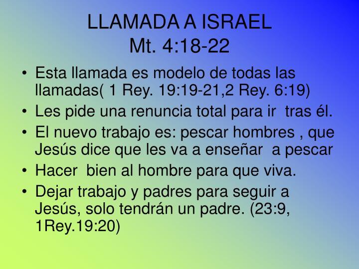 LLAMADA A ISRAEL