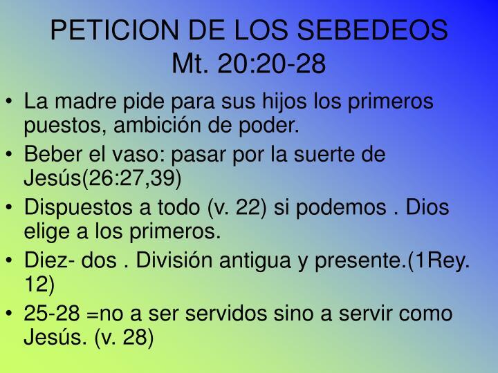 PETICION DE LOS SEBEDEOS