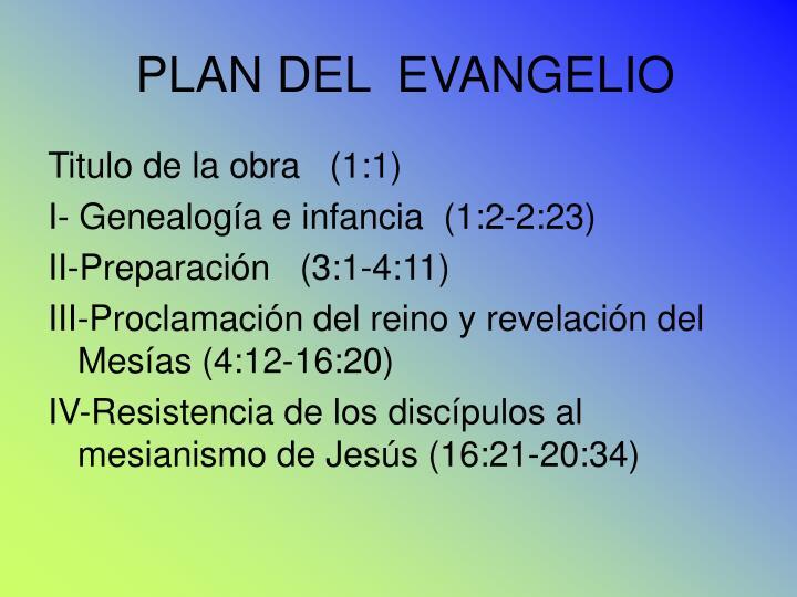 PLAN DEL  EVANGELIO