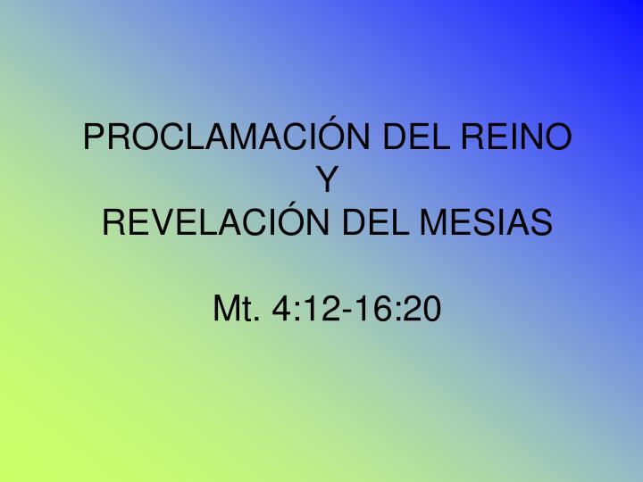 PROCLAMACIÓN DEL REINO