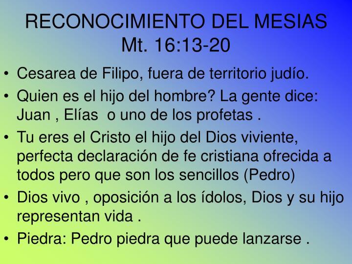 RECONOCIMIENTO DEL MESIAS