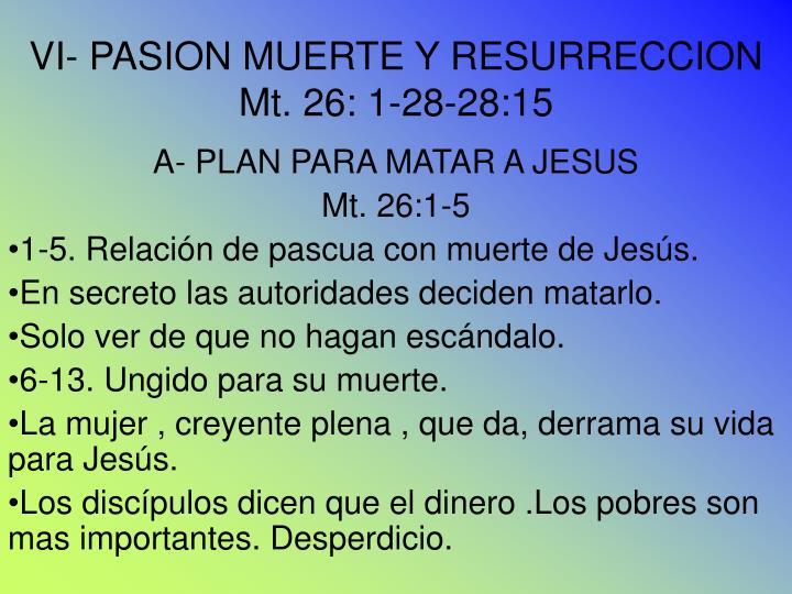 VI- PASION MUERTE Y RESURRECCION