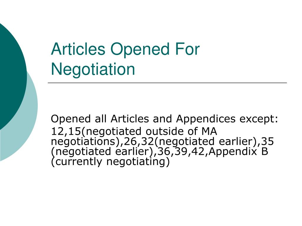 Articles Opened For Negotiation