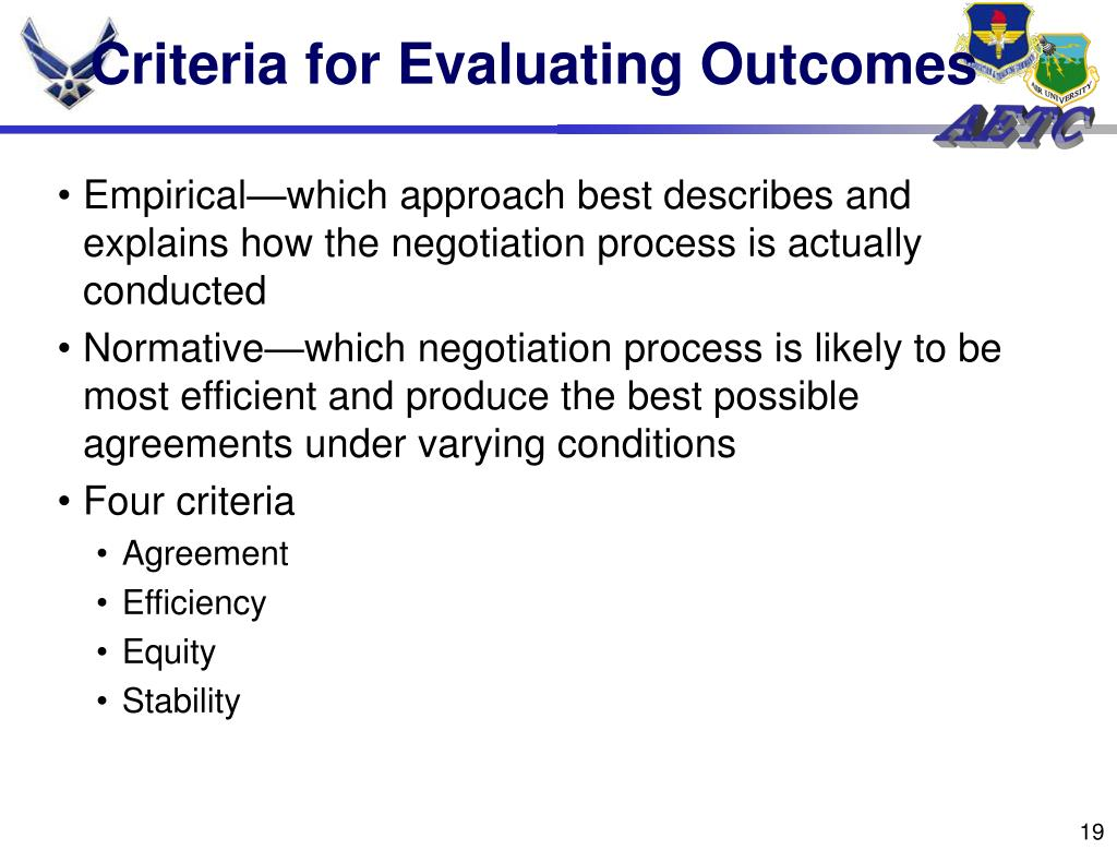 Criteria for Evaluating Outcomes