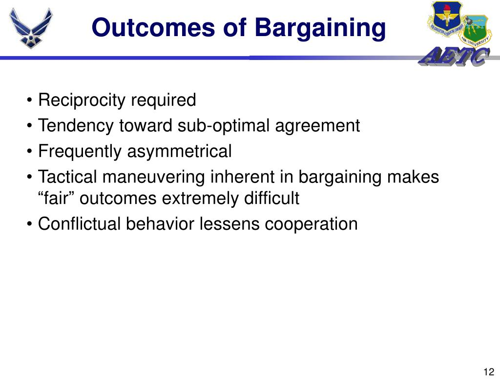 Outcomes of Bargaining