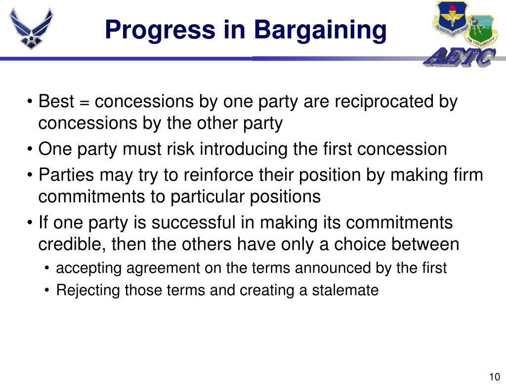 Progress in Bargaining