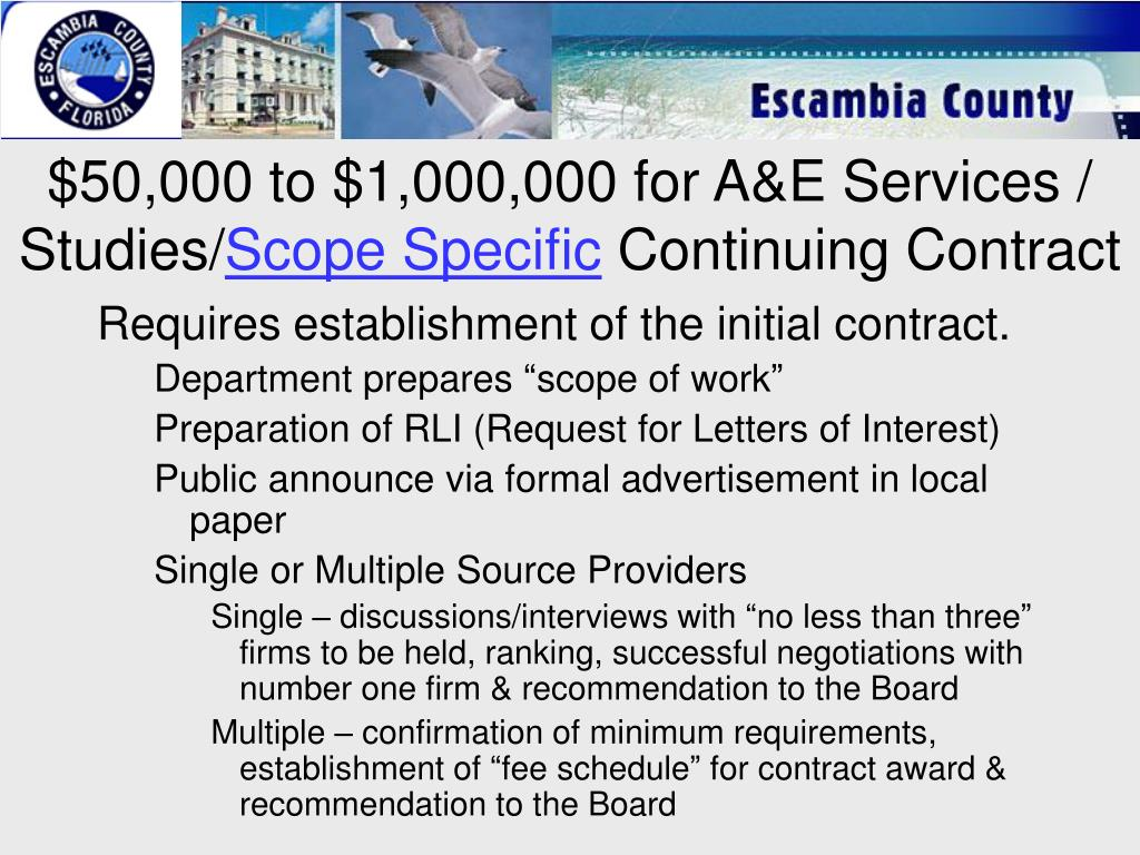 $50,000 to $1,000,000 for A&E Services / Studies/