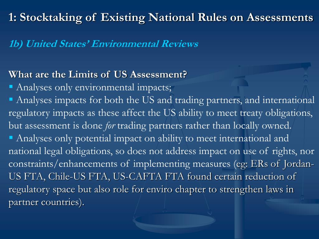 1: Stocktaking of Existing National Rules on Assessments