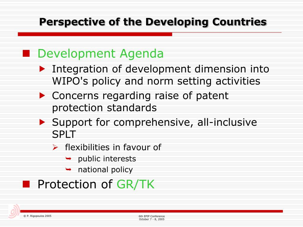 Perspective of the Developing Countries
