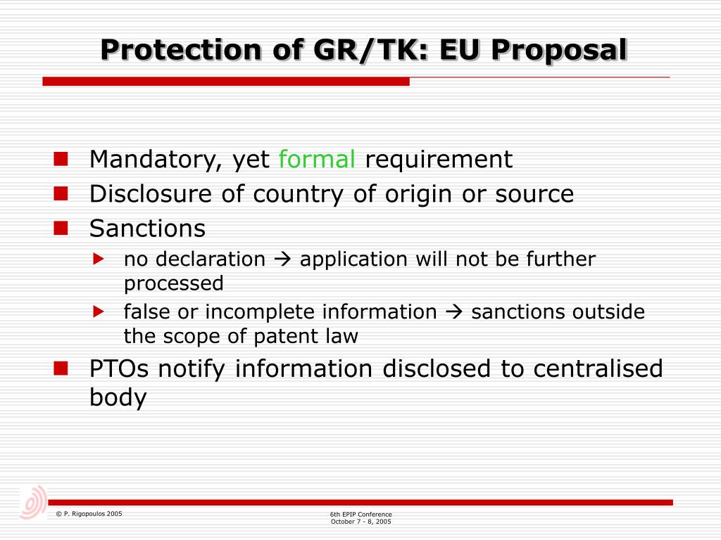 Protection of GR/TK: EU Proposal