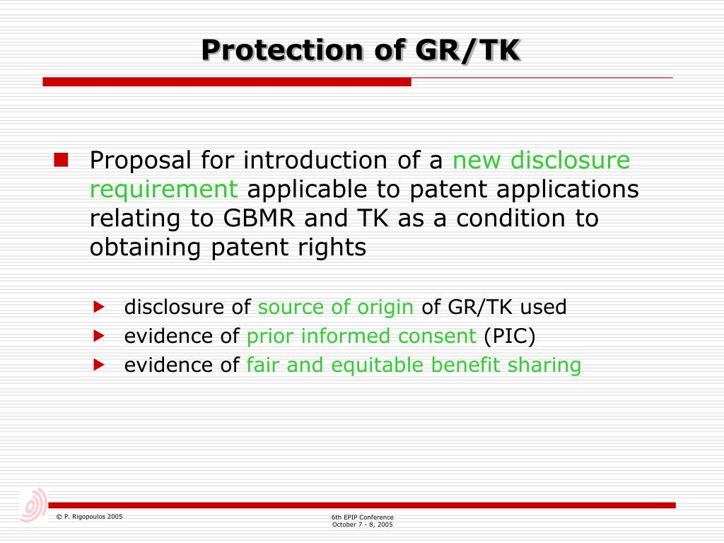 Protection of GR/TK