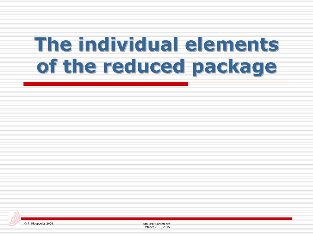 The individual elements of the reduced package