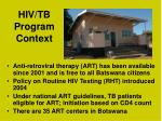 hiv tb program context