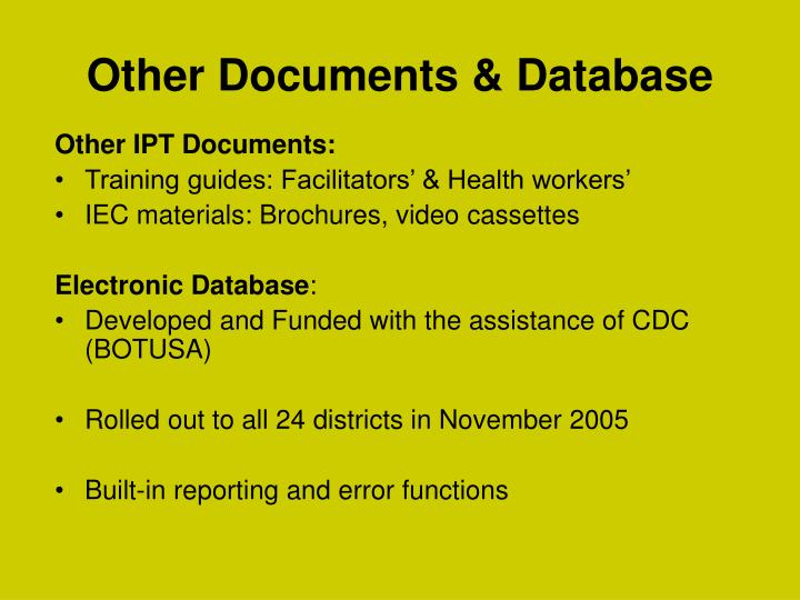 Other Documents & Database