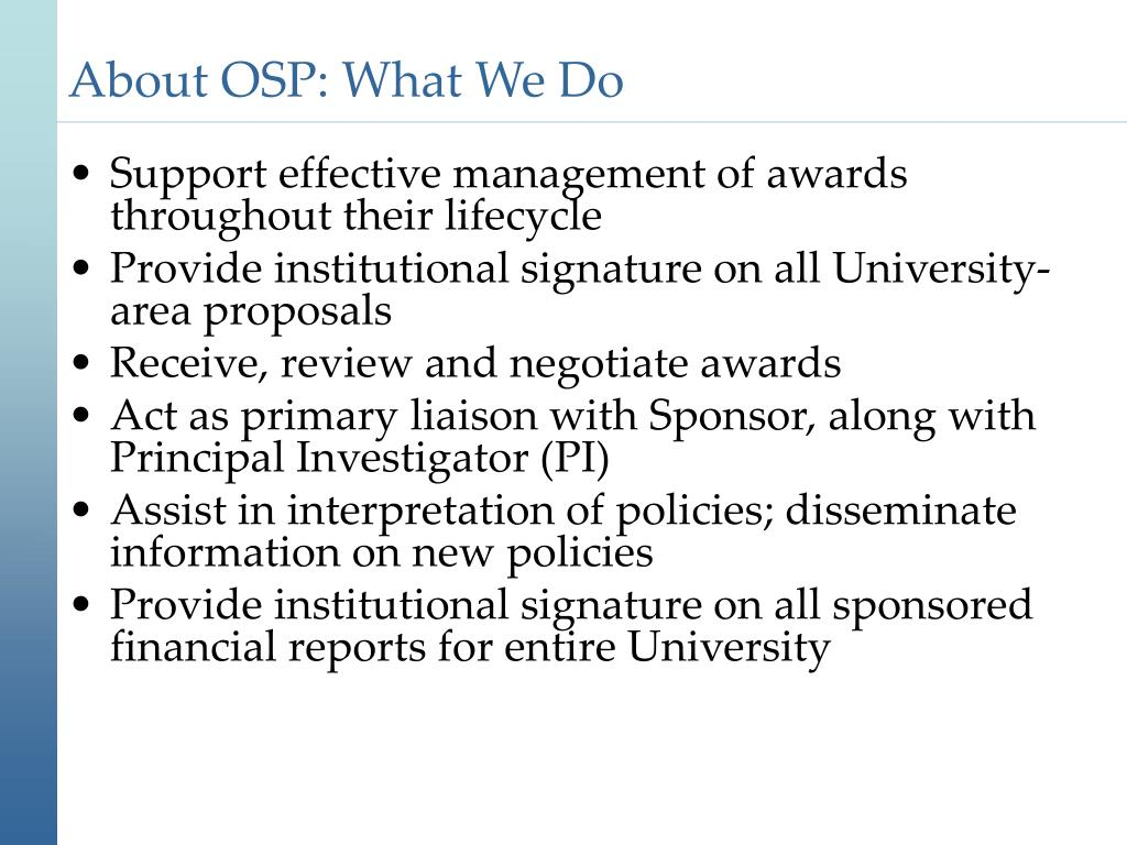 About OSP: What We Do