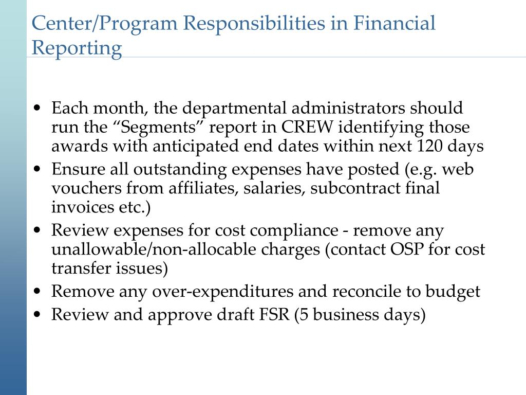 Center/Program Responsibilities in Financial Reporting