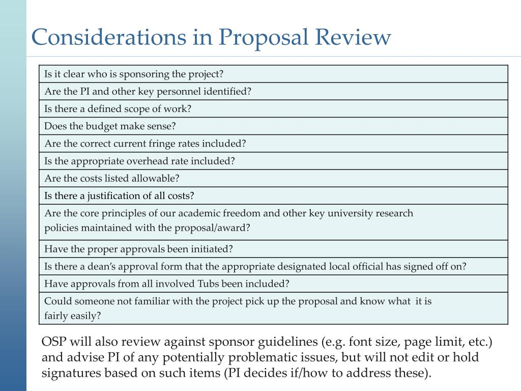 Considerations in Proposal Review