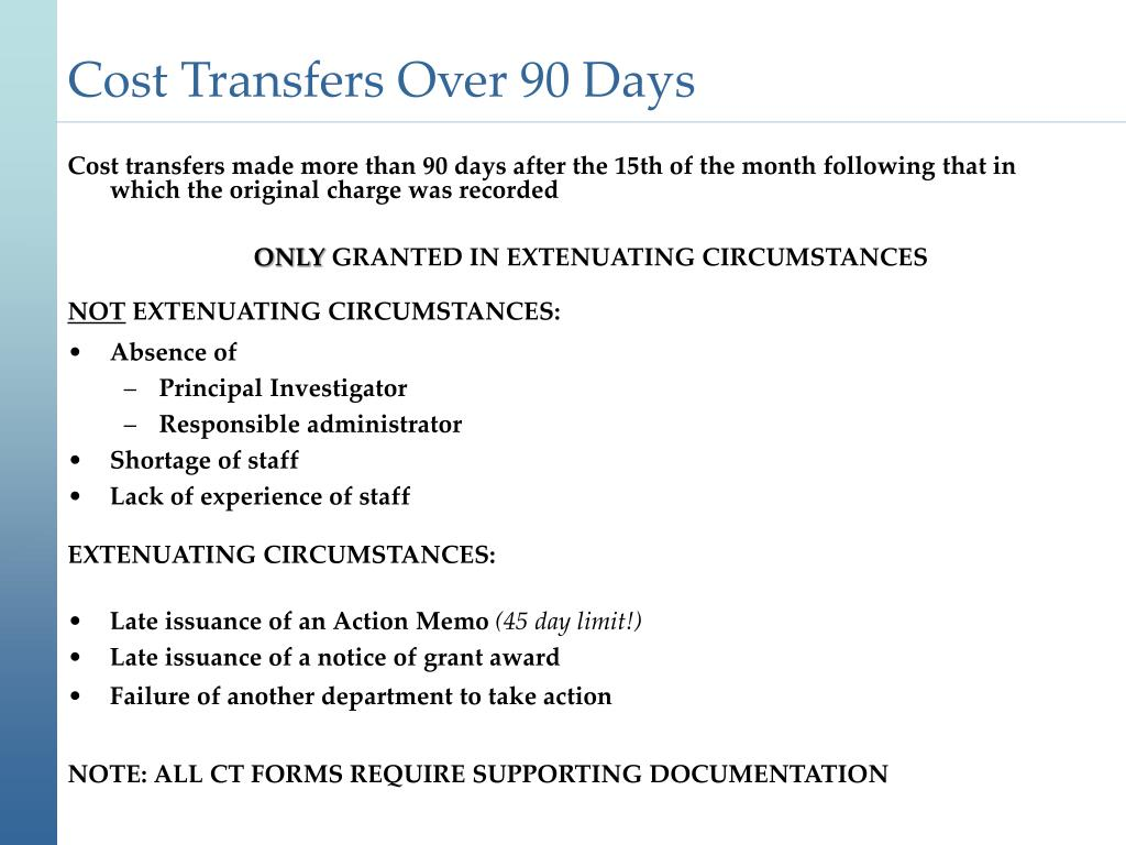 Cost Transfers Over 90 Days