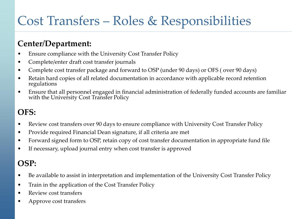Cost Transfers – Roles & Responsibilities