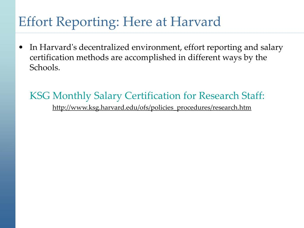 Effort Reporting: Here at Harvard