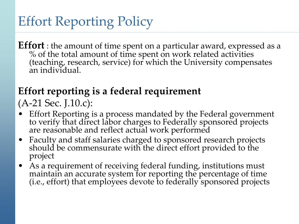 Effort Reporting Policy