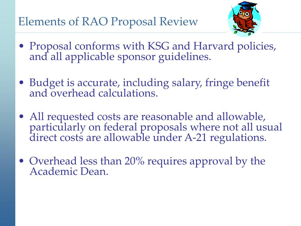 Elements of RAO Proposal Review
