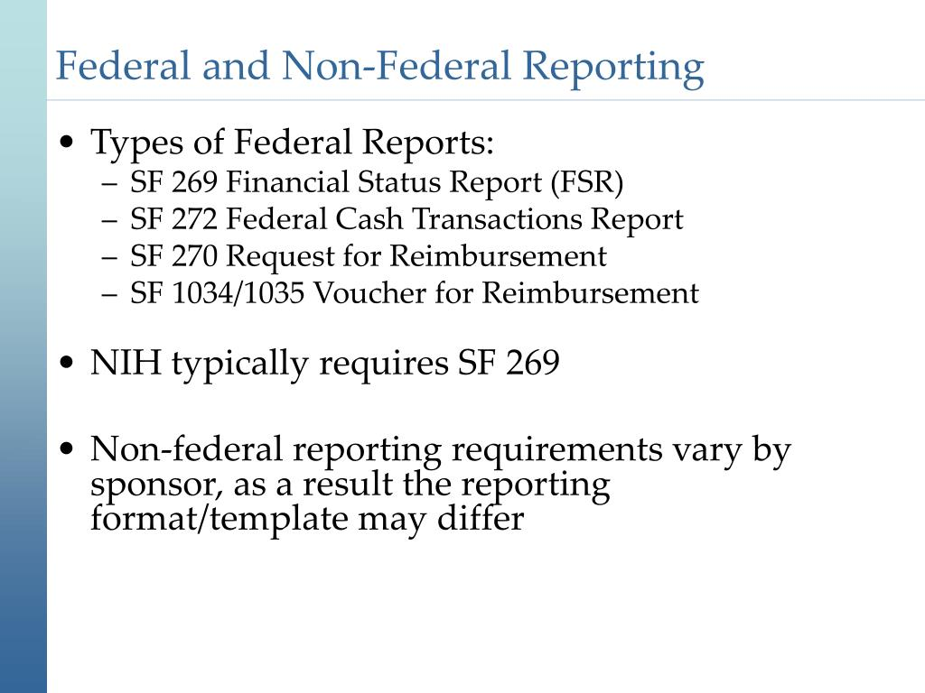 Federal and Non-Federal Reporting
