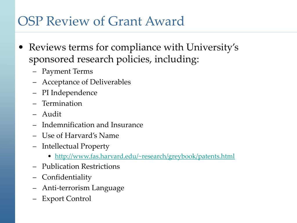 OSP Review of Grant Award
